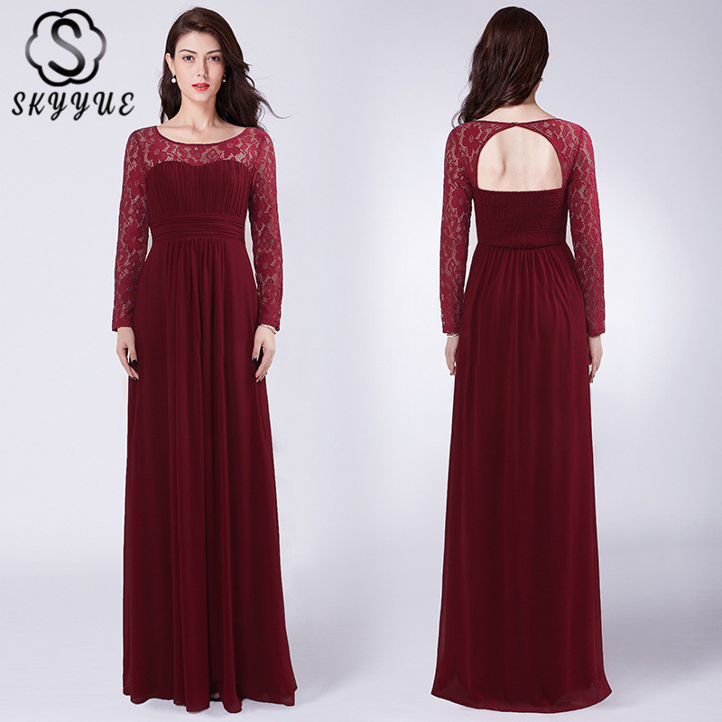 Skyyue Evening Dress O-neck Robe De Soiree Pleat Women Party Dresses 2019 Plus Size Lace Long Sleeve Formal Evening Gowns C538