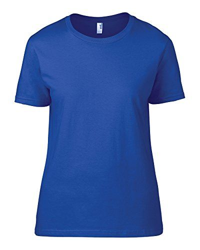 Camiseta Anvil, Básica, Semientallada, Para Mujer Azul Azul De Neón Large