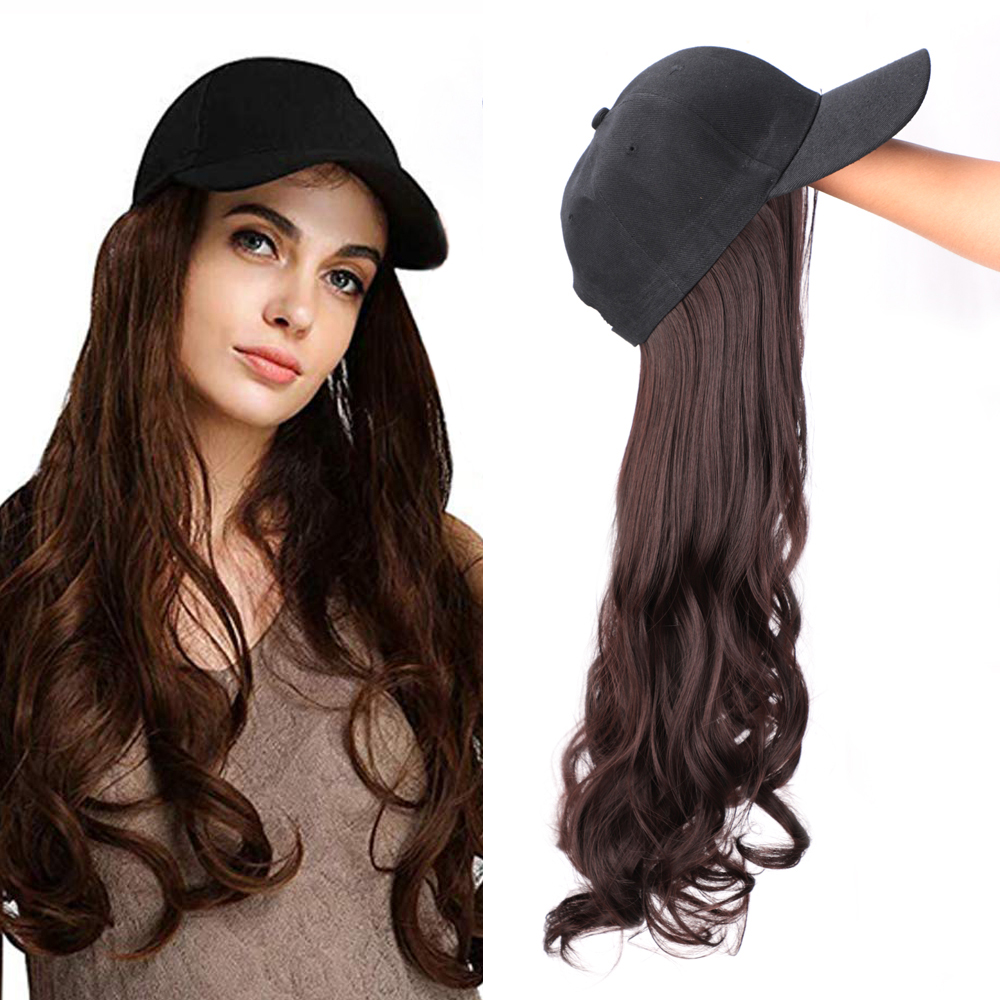 Long Synthetic Baseball Cap Hair Wig Natural Black / Brown Wave Wigs 22inch Naturally Connect Hat Wig Adjustable For Girl Party