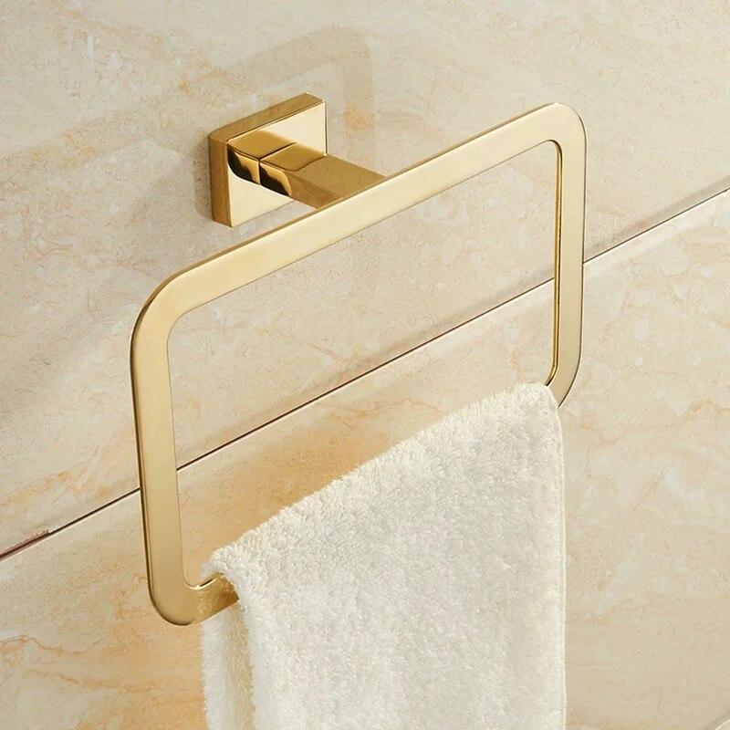 Золото полотенце кольца квадрат форма стена крепление ванна полотенце держатель полировка нержавеющая сталь сталь полотенце штанга ванная оборудование