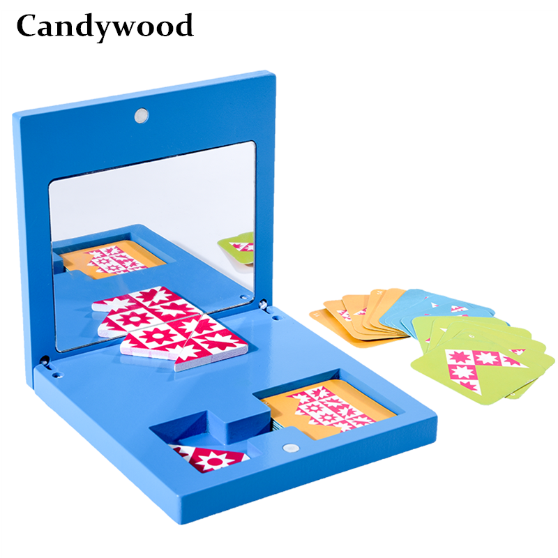 Montessori Educational Wooden Toys Mirror Imaging Puzzle Children Kids Education Sensory Toys Kindergarten Learning Didactic