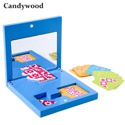 Montessori brinquedos educativos espelho de madeira imagem quebra-cabeça crianças educação brinquedos sensoriais jardim de infância aprendizagem didático
