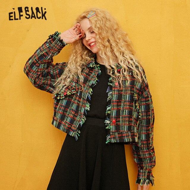 ELFSACK Green Plaid Colorblock Golden Silk Women Coats 2019 Autumn Single Breasted Long Sleeve Fringe Office Ladies Outwear