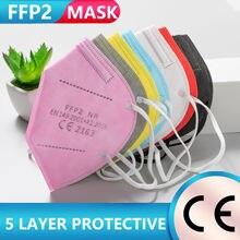 1-100 peças ffp2mask ce mascarillas kn95 certificada máscara fpp2 aprovado preto máscaras máscara respiratória para homem feminino máscara ffpp2