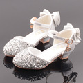 Zapatos de cuero para niños niñas cuatro estaciones aplicables zapatos de princesa de Punta cerrada Hallow zapatos de baile de tacón brillante para niñas