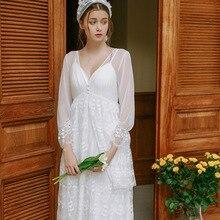 Palace Nightdress Spring And Autumn Ladies Lace Sexy Sleepwear Tulle Retro Princess  womens nightgown sleepwear GZ22