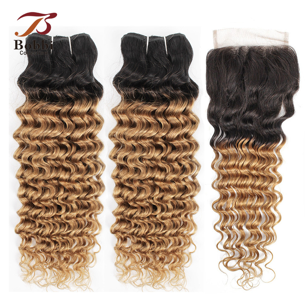 Bobbi Collection 2/3 Bundles With Closure 1B 27 Ombre Honey Blonde Deep Wave Pre-Colored Brazilian Non-Remy Human Hair Extension