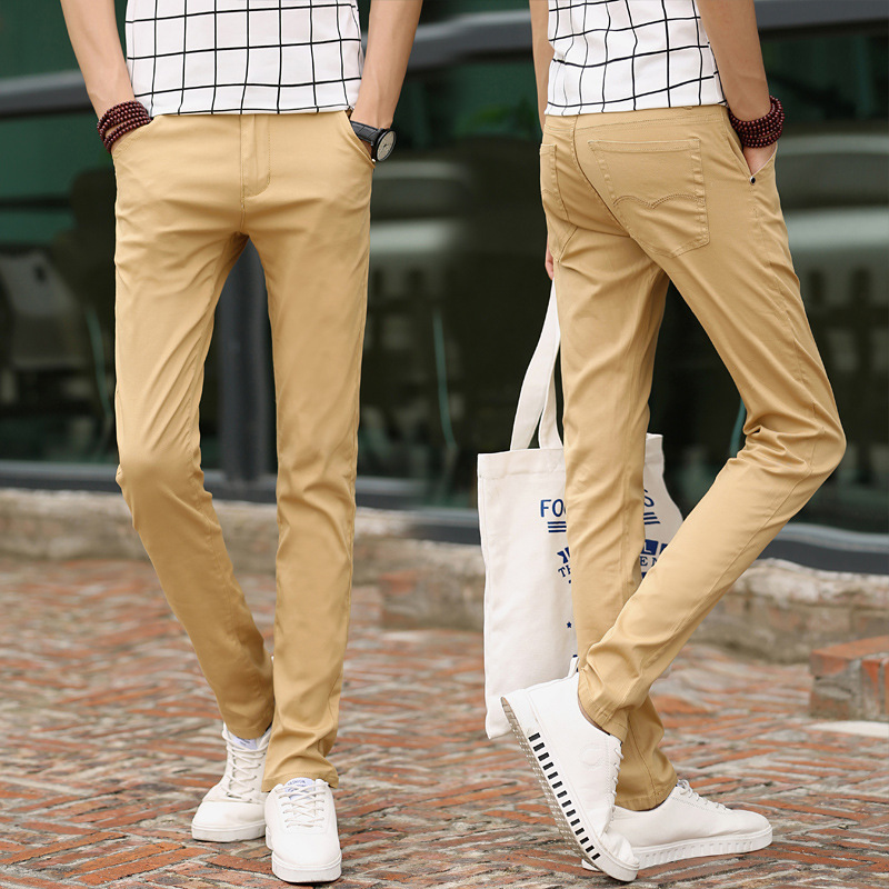 MEN'S Casual Pants Elasticity Versatile Straight Slim Youth Trousers Versatile Pants Men's Trend Cotton Cloth Pants