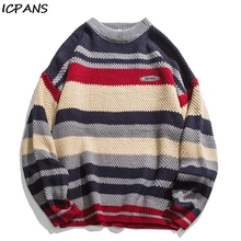ICPANS Loose Woemn Men Pullovers Kintting Sweater Striped Casual Hip Hop Clothing Cotton Japanese Style Man 2019 Spring