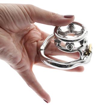 BDSM Metal Chastity Belt urządzenie stymulujące molestowanie seksualne Penis wyciskacz pierścień Stop masturbacja Chastity tortury CBT blokada Sex zabawki tanie i dobre opinie CN (pochodzenie) STAINLESS STEEL MKC125 Chastity Cage For Men penis cage Chastity Devices