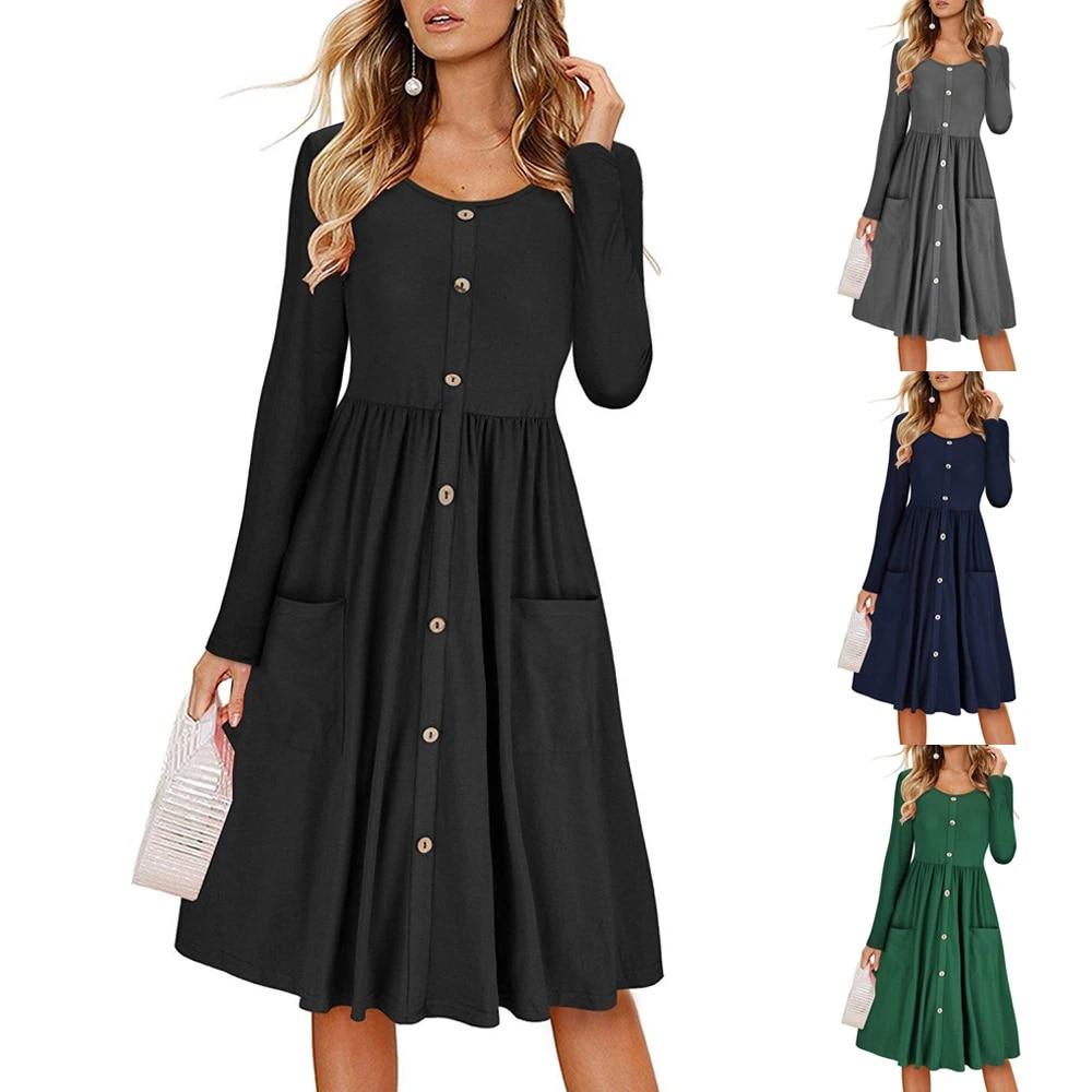 us 14.48 45 off|autumn casual women dress midi black button jurk green  long sleeve plus size bing robe sexy red vestidos kleid ropa mujer