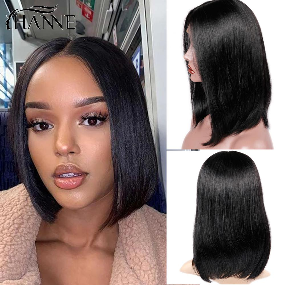 HANNE Lace Front Human Hair Wigs For Black Women Natural Black Pre Plucked 150% Density Straight Brazilian Lace Human Hair