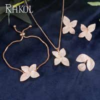 RAKOL luxe AAA cubique Zircon Micro pavé fleur boucles d'oreilles anneau Bracelet collier ensemble pour les femmes Anneaux de mariage bijoux RS13077