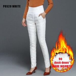 Image 3 - מזדמן נשים לבן ברווז למטה מכנסיים החורף עבה חם Slim גבוהה מותן מכנסי עיפרון לנשים בתוספת גודל מכנסיים Feme Berylbella