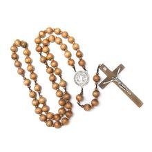 Charm Necklace Jewelry Catholic Wall-Rosary Wood Cross-Religious Bead Gift Handmade Round
