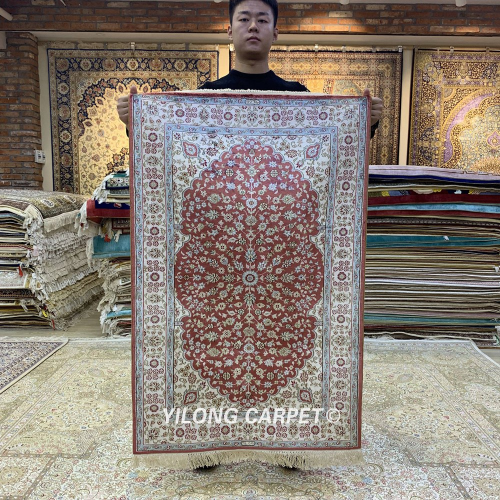 YILONG 2.5'x4' Handwoven Silk Red Carpet Medallion Home Interior Area Rug (HF198B)