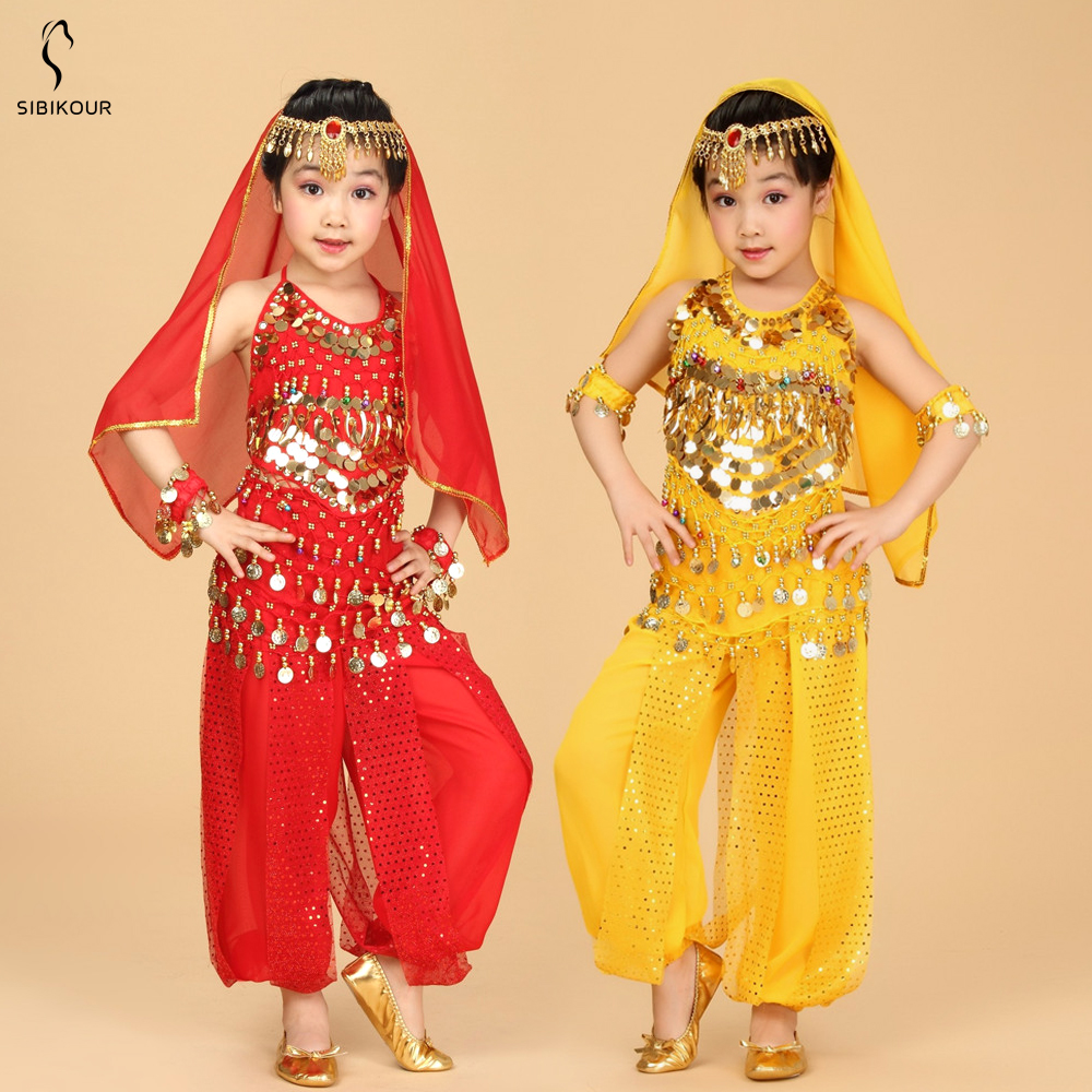 Kids Belly Dance Costume Set Egypt Bollywood Egyptian Indian Bellydance Dress Oriental India Suit Girls Belly Dance Clothes NEW