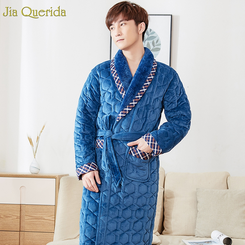 Velvet Kimono Winter Thick Mens Nightgowns 3 Layer Padded Warm Bathrobes Long Sleeves Embossing Pattern Chinese Warm Bathrobes