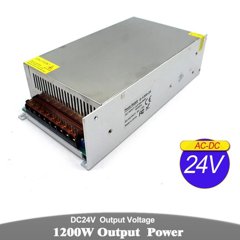 1200W 24V 50A unité d'alimentation à découpage AC à DC adaptateur d'alimentation 110v 220v entrée à DC24V SMPS pour CCTV imprimante éclairage pas à pas