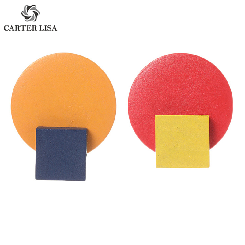 CARTER LISA Simple Candy Color Wooden Round Square Stud Earings For Women Girl Fashion Jewelry Party Christmas Gifts