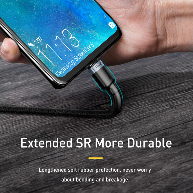 Baseus 100W USB C To USB Type C Cable USBC PD Fast Charger Cord USB-C Type-c Cable For Xiaomi mi 10 Pro Samsung S20 Macbook iPad 5