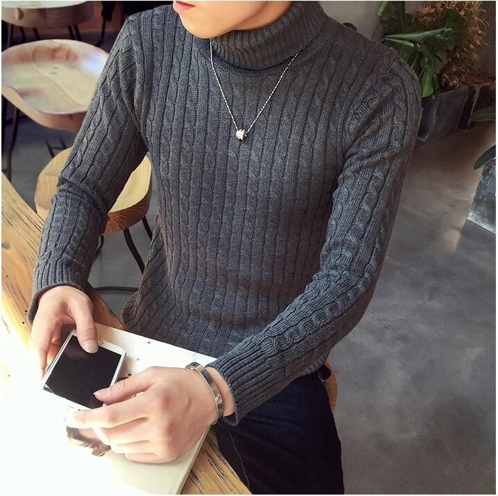 Autumn Winter New Solid Color Turtleneck Pullover Sweater Men's Korean Sweater Youth Clothing Tide Male Clothing Fashion Style