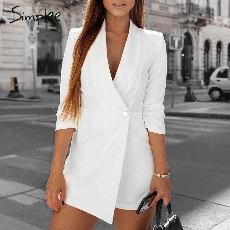 Simplee Streetwear Women Blazer Playsuit Romper Half Sleeve V Neck Button Female Jumpsuit Autumn Winter Office Ladies Overalls