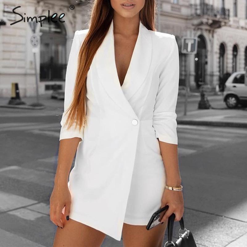 Simplee Streetwear Women Blazer Playsuit Romper Half Sleeve V Neck Button Female Jumpsuit Autumn Winter Office Ladies Overalls