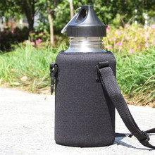 2000ML Black Sports Bottle Cover Single Layer Kettle anti-scalding Cup Set Can Print Logo Hangable Insulation Sleeve(China)