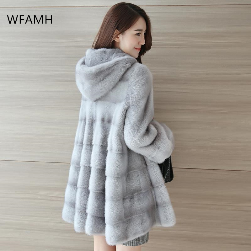 2020 High-end Mink Coat Female New Haining Mid-length Hooded Long-sleeved Fashion Mink Fur Coat Lantern Sleeve