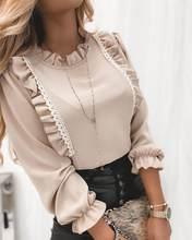 Outono primavera blusa feminina emenda rendas aparamento babados o-pescoço camisa senhoras de escritório mangas compridas magro ajuste tops blusa elegante