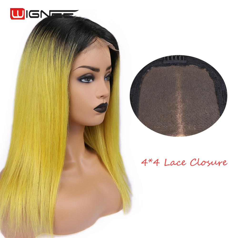 Wignee 4*4 Lace Closure Straight Human Hair Wigs For Black/White Women Ombre Yellow/Purple/Pink/Grey Hair Middle Part Human Wig