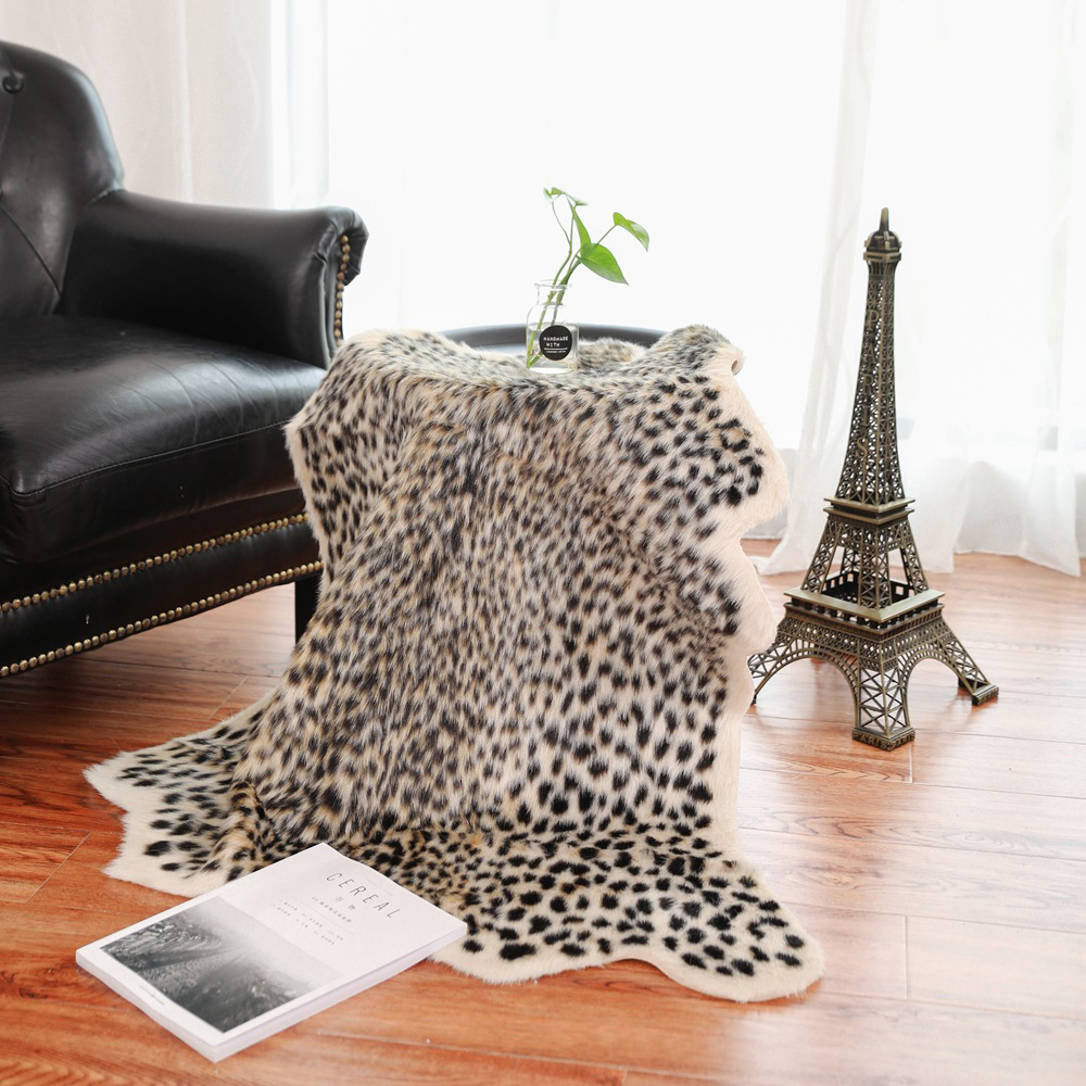 1 Pcs Leopard Printed Rug Cow Leopard Tiger Printed Cowhide Faux Skin Leather NonSlip Antiskid Mat 94x100CM Animal Print Carpet
