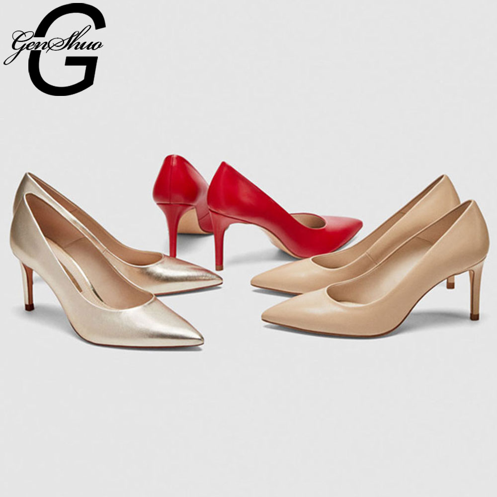 GENSHUO Solid High Heels 8cm Stilettos Women Pointed Toe Ladies Party Pumps Spring Autumn Shallow Pumps Shoes Woman Size 33-41