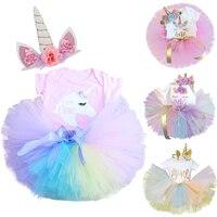 Vestido de fiesta de cumpleaños con diseño de unicornio para niñas, vestido Infantil de 12 meses, 1 año de cumpleaños, 1ª prenda, vestido de Bautismo