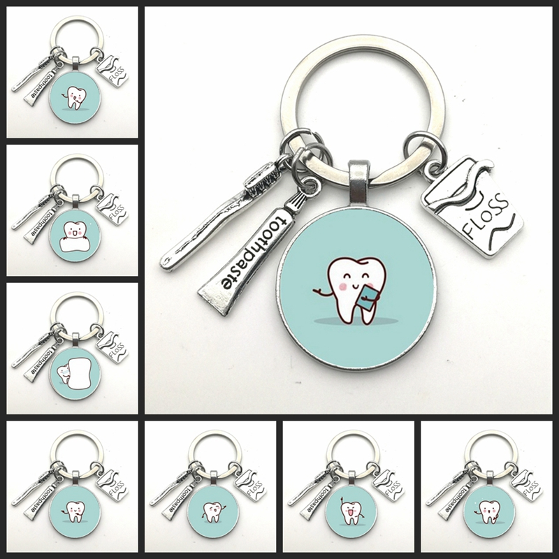 2020 New Dentist Dental Glass Keychain Dental Assistant Gift Dental Care Keychain
