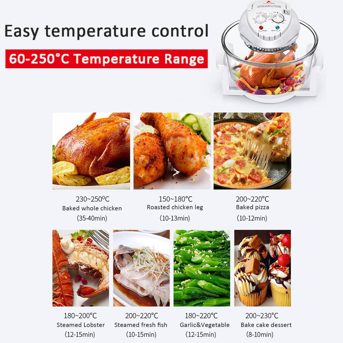 1300W 12L 110 V 240 V Horno infrarrojo convencional freidora de aire Turbo Cocina eléctrica multifunción barbacoa hornear cocinar con receta - 5