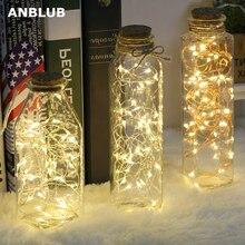 ANBLUB год 2 м 5 м 10 м светодиодный Серебряный провод гирлянды для рождества дома Свадебные украшения сказочная гирлянда Питание от батареи