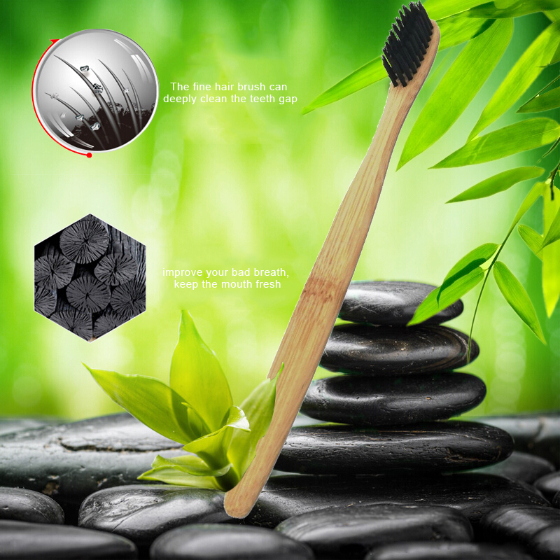 Environmental Bamboo Charcoal Toothbrush Protection Teeth Whitening Soft Bristle Wood Handle Toothbrush For Oral Health TSLM1