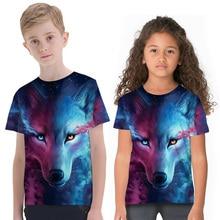 New Kids T-shirts Fashion 3D Wolf Print Children's T-shirts Tops Boys Girls Short Sleeve Crew Neck Clothes 2-11 Y 3d flame bird print crew neck long sleeve t shirt