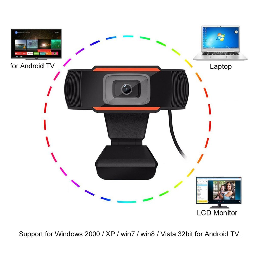 Hot Sale 30 degrees rotatable 2.0 HD Webcam 1080p USB Camera Video Recording Web Camera with Microphone For PC Computer 3