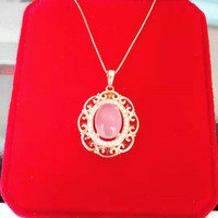 KJJEAXCMY boutique jewelry 925 sterling silver inlaid natural Furong stone female necklace pendant support test