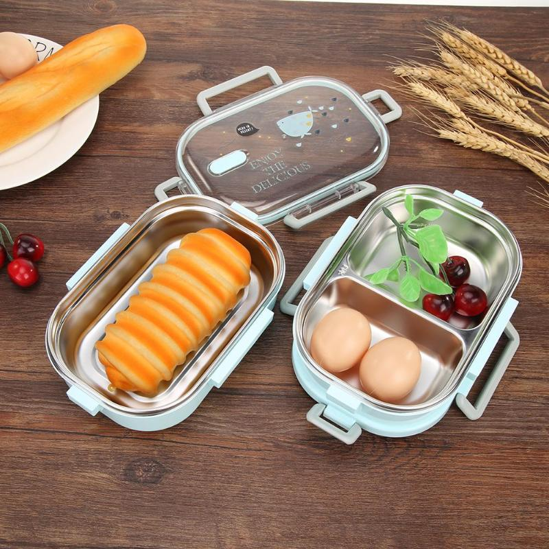 Double Layer Stainless Metal Picnic Lunch Box Case Bento Food Container Kitchen