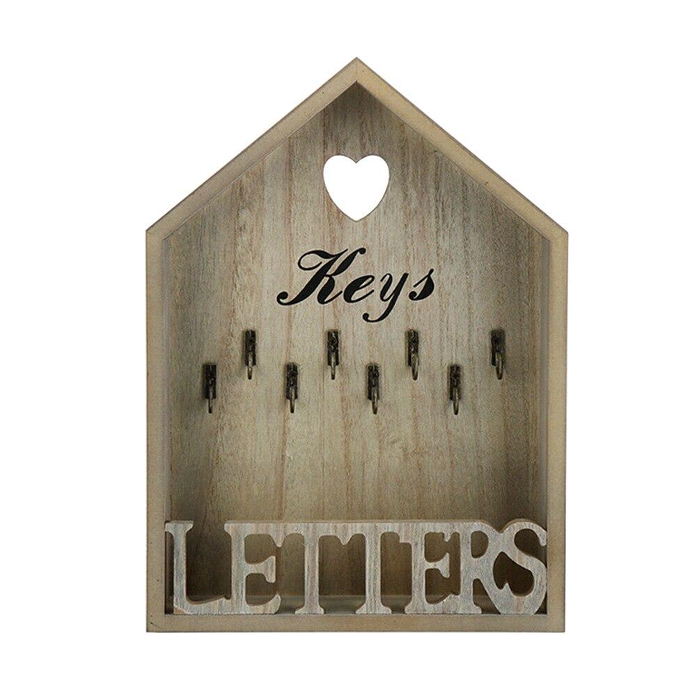 8 Hooks Office Wooden Key Holder Wall Mounted Cottage Storage Hanger Portable Decoration Organizer Letter Rack Home Vintage