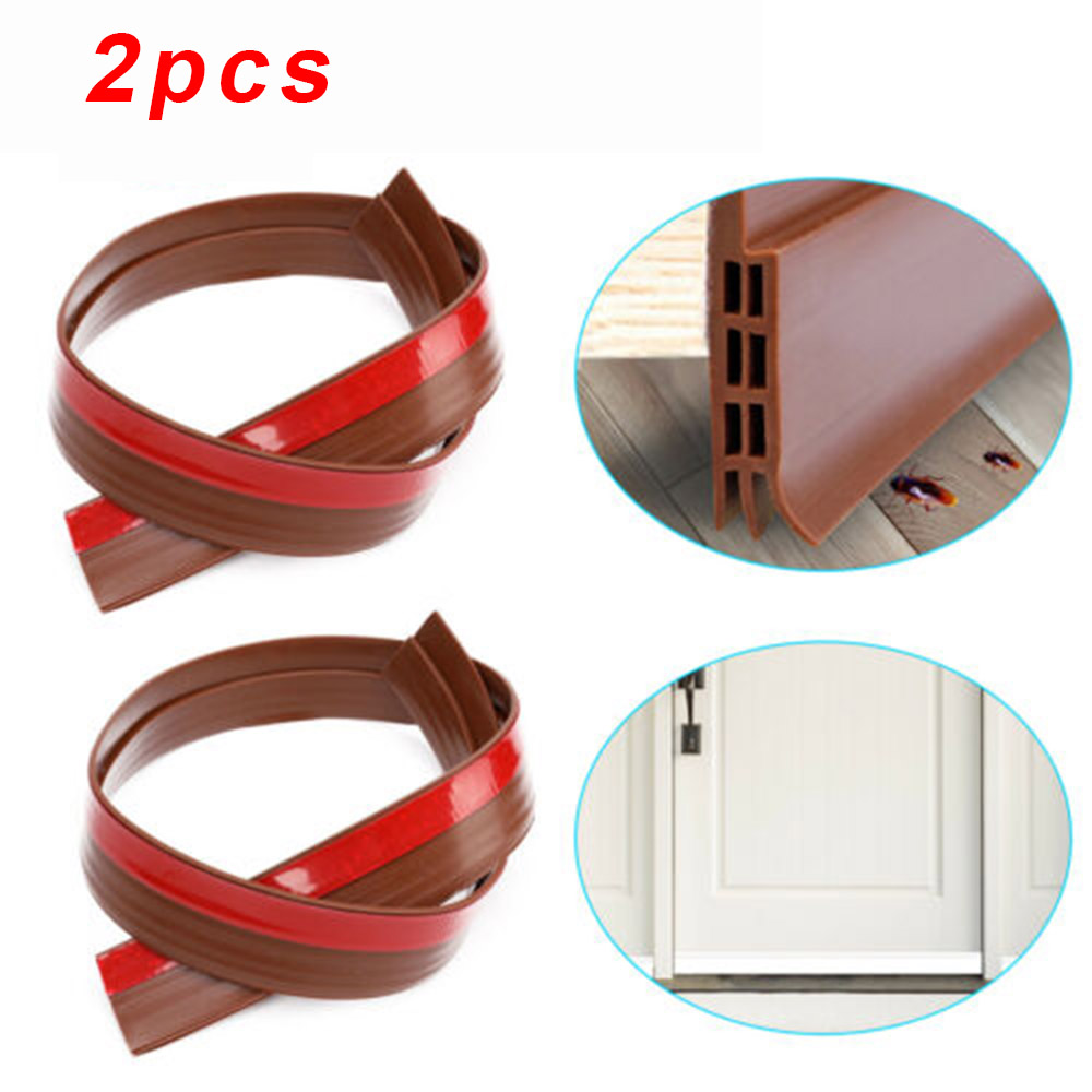 2pcs Silicone Material Door Bottom Sealing Strip Wind Dust Blocker Stopper Sound-proof Hotel Room For Home