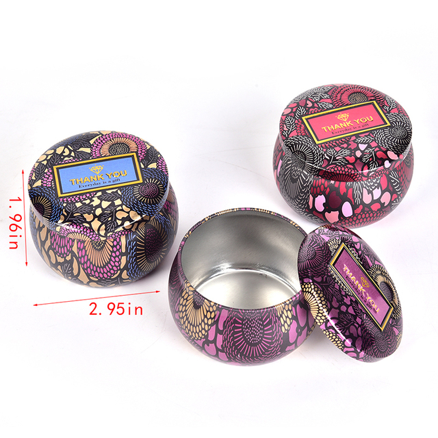 Tea Candy Jewelry Storage Box Candle Jar Small Iron Wedding Christmas Round Metal Europe Lacquer Eco-friendly