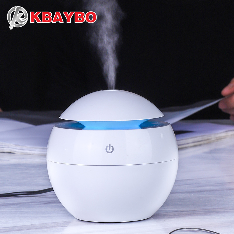 KBAYBO 130ML USB Humidifier Ultrasonic Aromatherapy Essential Oil Diffuser For Home Electric Diffusers Air Purifier With Lights