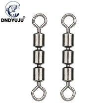 Dndyuju 50/30 pces rolamento triplo seguro pesca giratória de aço inoxidável resistente leve conector rápido portátil