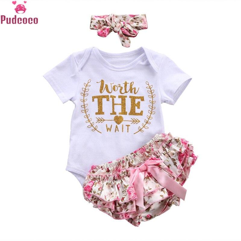 3PCS Newborn Baby Girls Clothes Print Letter Worth The Wait Bodysuit Romper+Ruffles Tutu Skirted Shorts Headband Outfits