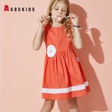 ABCkids Girls Dress for Party and Wedding Personality Toddler Kids Soft Cotton Children Girl Pocket Print Dress Children Clothes